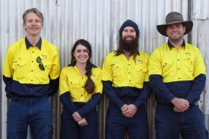 2015 Works Crew: From left Crew Leader Alex Schipperen, Lauren Cogo, Jason Burgoyne and Ned Brook
